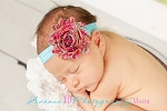 Hot Pink and Aqua Paisley Chiffon Rosette Baby Headband