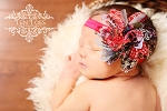 Red Blue Patchwork Country Chiffon Flower Baby Headband