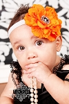 Orange Flower Rhinestone Baby Headband