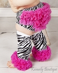 Zebra and Hot Pink Chiffon Ruffle Diaper Cover