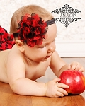 Red Black Shabby Lace Baby Headband