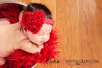 Red Rosette Heart Baby Baby Headband