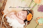 Orange and White Polka Dot Chiffon Rosette Baby Headband