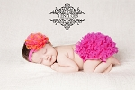 Hot Pink and Orange Chiffon Lotus Flower Baby Headband