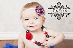 Patriotic Stripes Chiffon Rosette Baby Headband
