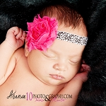 Hot Pink Chiffon and Damask Baby Headband