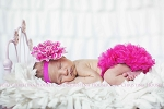 Hot Pink Peacock Flower Baby Headband and Chiffon Ruffle Bloomers