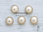 19mm Pearl Rhinestone Acrylic Button From Kemaily