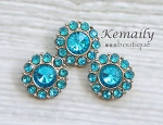 Acrylic Turquoise Rhinestone Button 25mm 3 pack From Kemaily