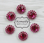 6 Pack Fuschia Acrylic Rhinestone Buttons 26mm