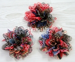 Set of 3 Red Blue Chiffon Peacock Shabby Chic Frayed Chiffon Flower