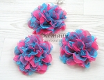 Hot Pink and Turquoise Lace Shabby Chic Frayed Chiffon Flower