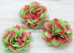 Green Red Chiffon Lace Shabby Chic Frayed Chiffon Flower