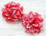 Red Chiffon White Lace Shabby Chic Frayed Chiffon Flower