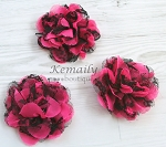 Hot Pink Chiffon Black Lace Shabby Chic Frayed Chiffon Flower