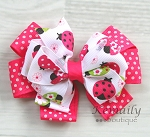 Hot Pink Ladybug Boutique HairBow