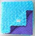 Turquoise Rosette and Purple Double Dot Minky Baby Blanket