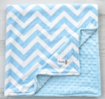 Baby Blue Chevron Double Minky Blanket