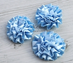 Set of 3 Baby Blue Satin Puff Rolled Rosette Flowers