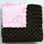 Pink and Brown Double Rosette Minky Blanket