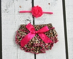Hot Pink Baby Headband and Leopard Bloomers