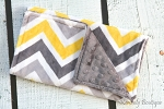 Yellow Grey Multi Chevron Double Baby Minky Burp Cloth