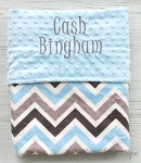 Personalized Grey Blue Multi Chevron Double Minky Baby Blanket
