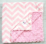 Pink Chevron Double Minky Blanket