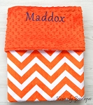 Personalized Orange Chevron Double Minky Baby Blanket