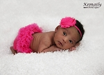 Hot Pink Chiffon Rosette Skinny Baby Headband and Ruffle Bloomer