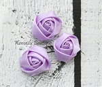 3 Pack Lavender Mini Rolled Rosette Satin Flower