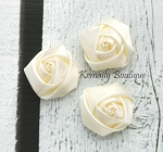 3 Pack Ivory  Mini Rolled Rosette Satin Flower