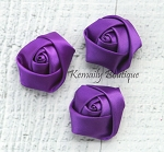 3 Pack Purple Mini Rolled Rosette Satin Flower