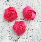 3 Pack Hot Pink Mini Rolled Rosette Satin Flower