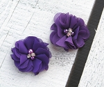 2 Pack Purple Pearl Rhinestone Chiffon Flowers