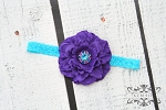 Purple Satin Flower Turquoise Lace Headband