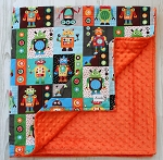 Robot Minky Baby Blanket By Kemaily