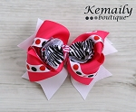 Hot Pink Zebra Dot Boutique Hair Bow