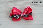 Hot Pink Zebra & Dots Bow