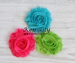 Hot Pink Turquoise Lime Green Chiffon Rosette HairBow Clips