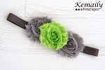 Grey and Lime Green Chiffon Rosette Flower Baby Headband
