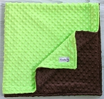 Lime Green and Brown Double Minky Baby Blanket