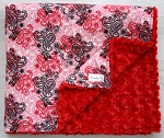 READY TO SHIP Black Butterflies and Red Rosette Minky Blanket