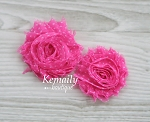 Shabby Chic Frayed Hot Pink Polka Dot Chiffon Rosette Set Flower