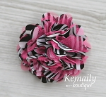 Zebra and Hot Pink Satin and Tulle Mesh Puff Flower Hair Clip