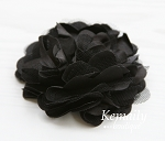 Black Satin and Tulle Mesh Flower
