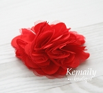 Red Satin and Tulle Mesh Flower