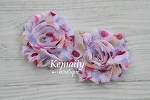 Shabby Chic Frayed Polka Dot Chiffon Rosette Set Flower
