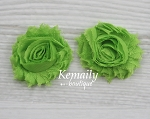 Shabby Chic Frayed Lime Green Chiffon Rosette Set Flower
