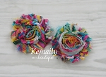 Shabby Chic Frayed Rainbow Chiffon Rosette Set Flower